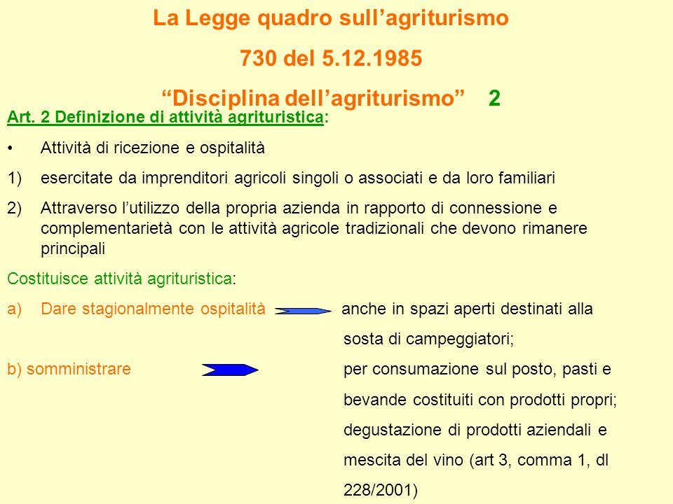 La Legge quadro sull'agriturismo Disciplina dell'agriturismo 2