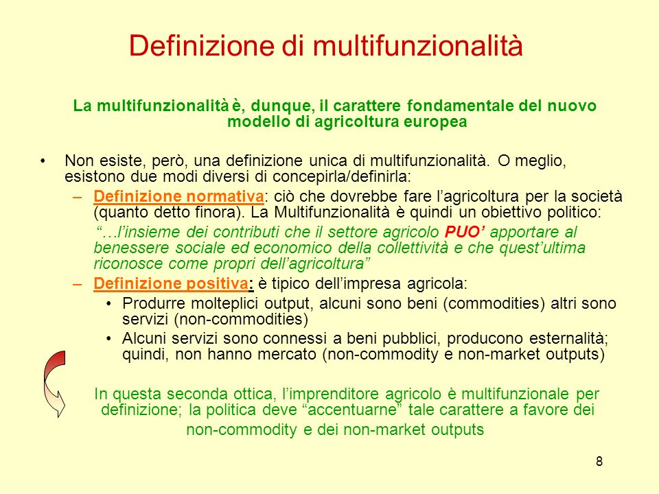 Definizione di multifunzionalità