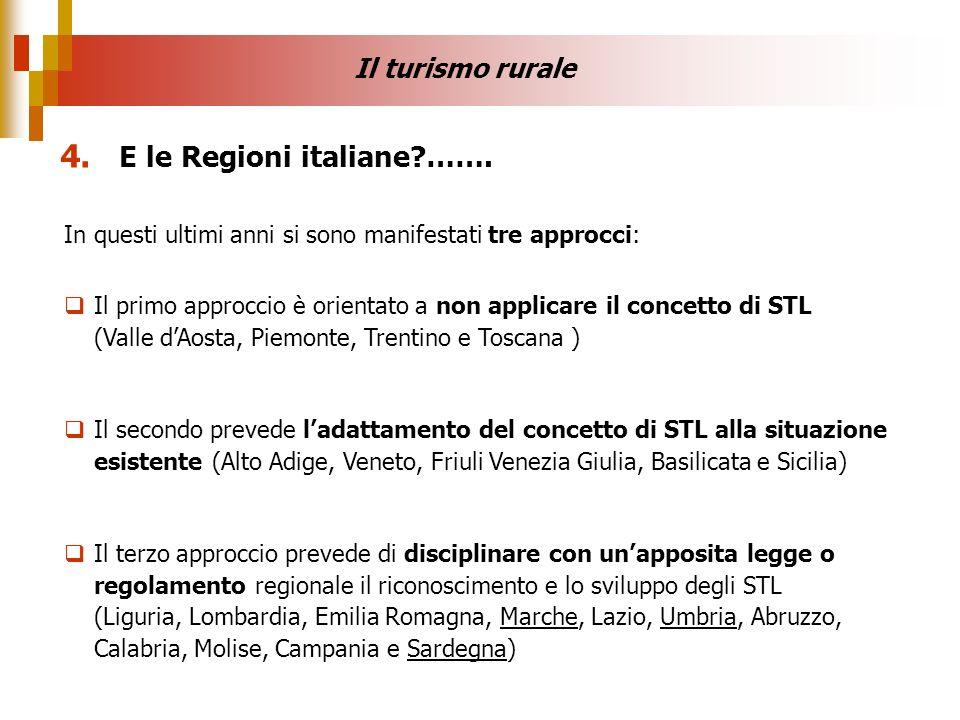 4. E le Regioni italiane ……. Il turismo rurale