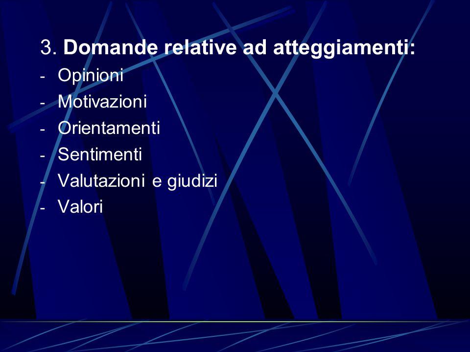 3. Domande relative ad atteggiamenti: