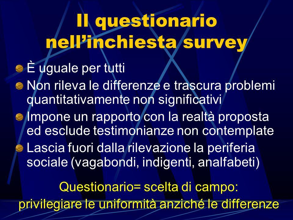 Il questionario nell'inchiesta survey