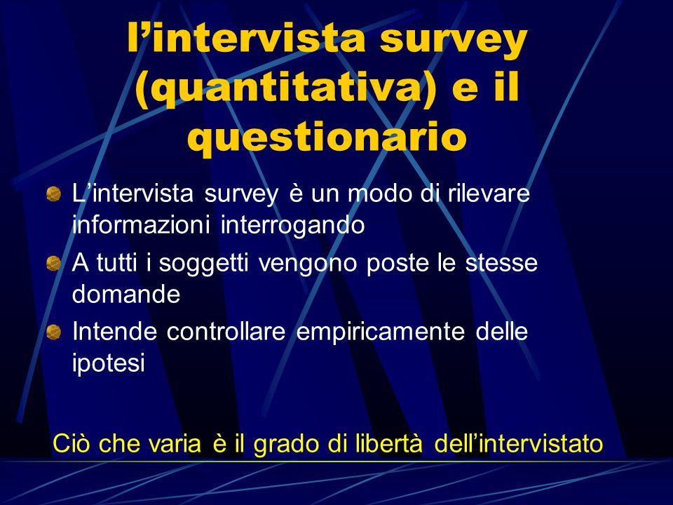 l'intervista survey (quantitativa) e il questionario