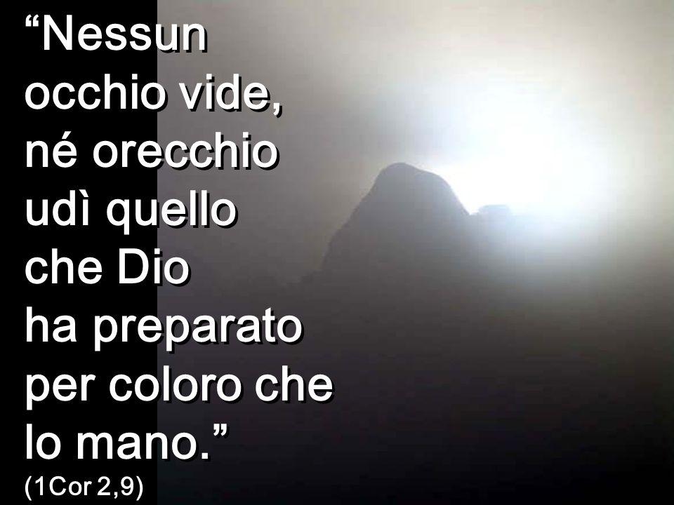 Nessun occhio vide, né orecchio udì quello che Dio ha preparato per coloro che lo mano. (1Cor 2,9)