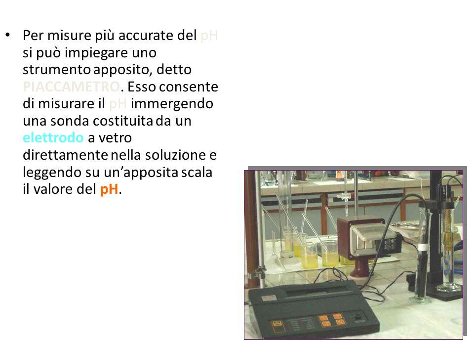 Per misure più accurate del pH si può impiegare uno strumento apposito, detto PIACCAMETRO.