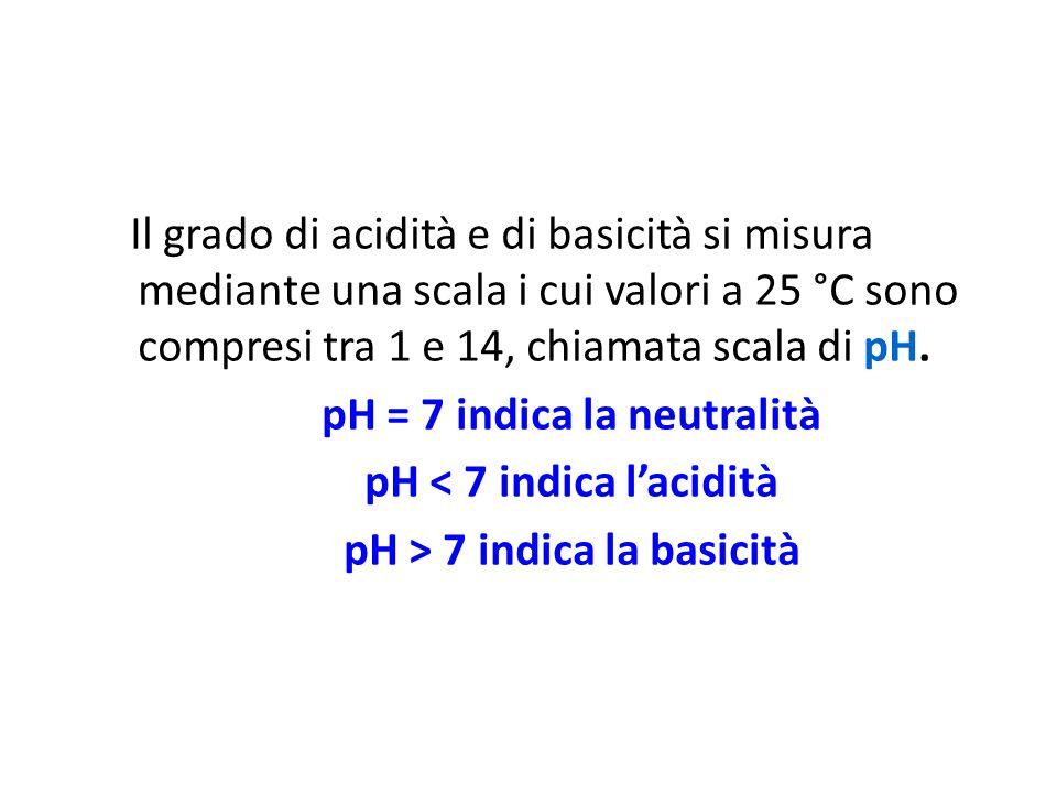 pH = 7 indica la neutralità pH < 7 indica l'acidità