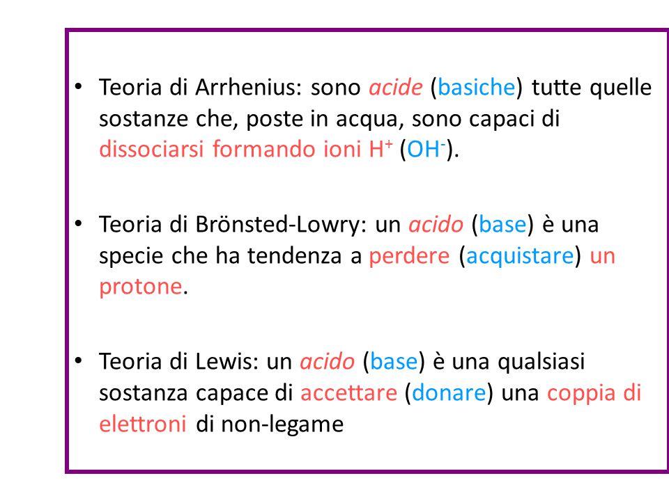 Teoria di Arrhenius: sono acide (basiche) tutte quelle sostanze che, poste in acqua, sono capaci di dissociarsi formando ioni H+ (OH-).