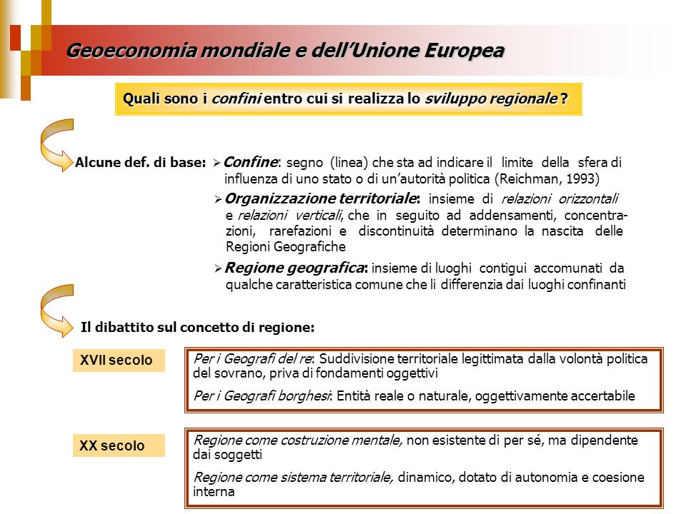 Geoeconomia mondiale e dell'Unione Europea