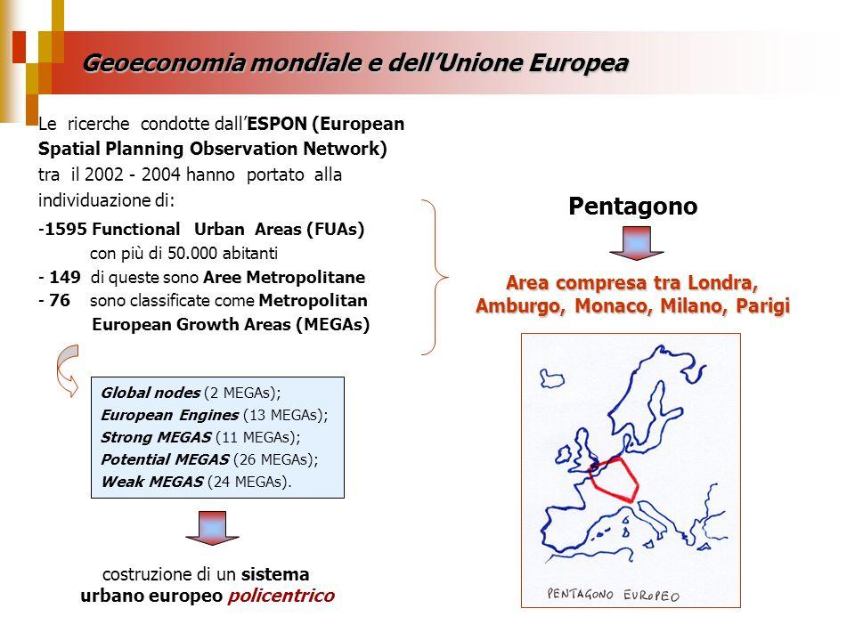 Geoeconomia mondiale e dell'Unione Europea Pentagono