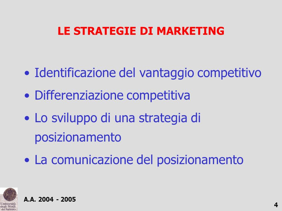 LE STRATEGIE DI MARKETING