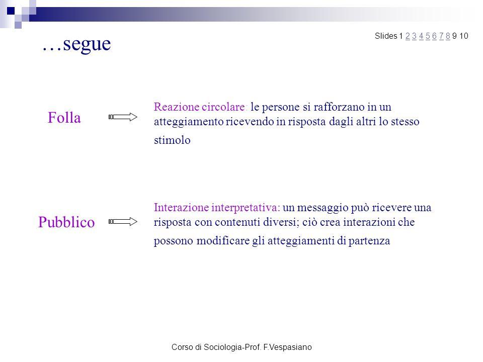 Corso di Sociologia-Prof. F.Vespasiano
