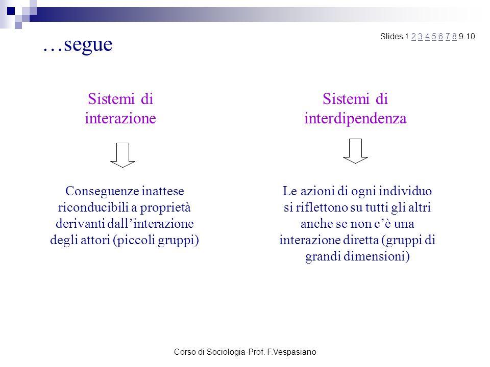 …segue Sistemi di interazione Sistemi di interdipendenza