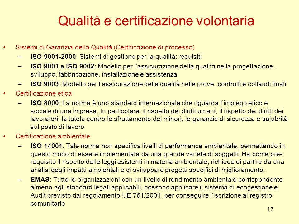 Qualità e certificazione volontaria