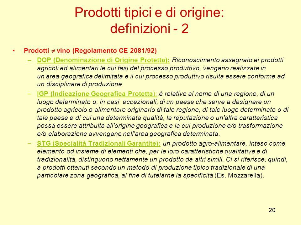 Prodotti tipici e di origine: definizioni - 2