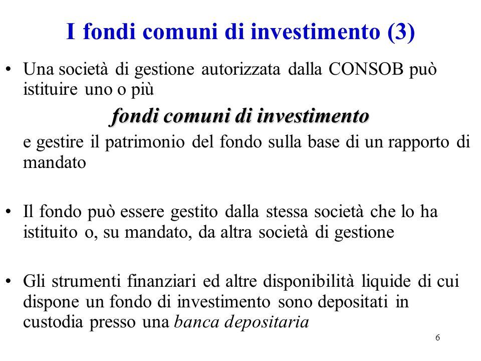 I fondi comuni di investimento (3)
