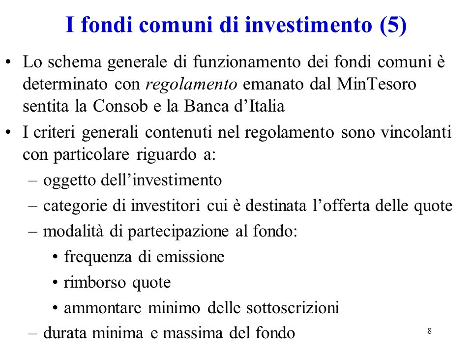 I fondi comuni di investimento (5)