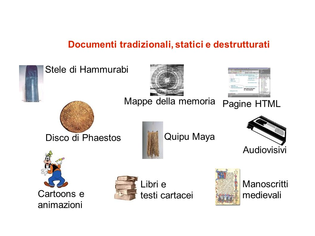 Documenti tradizionali, statici e destrutturati