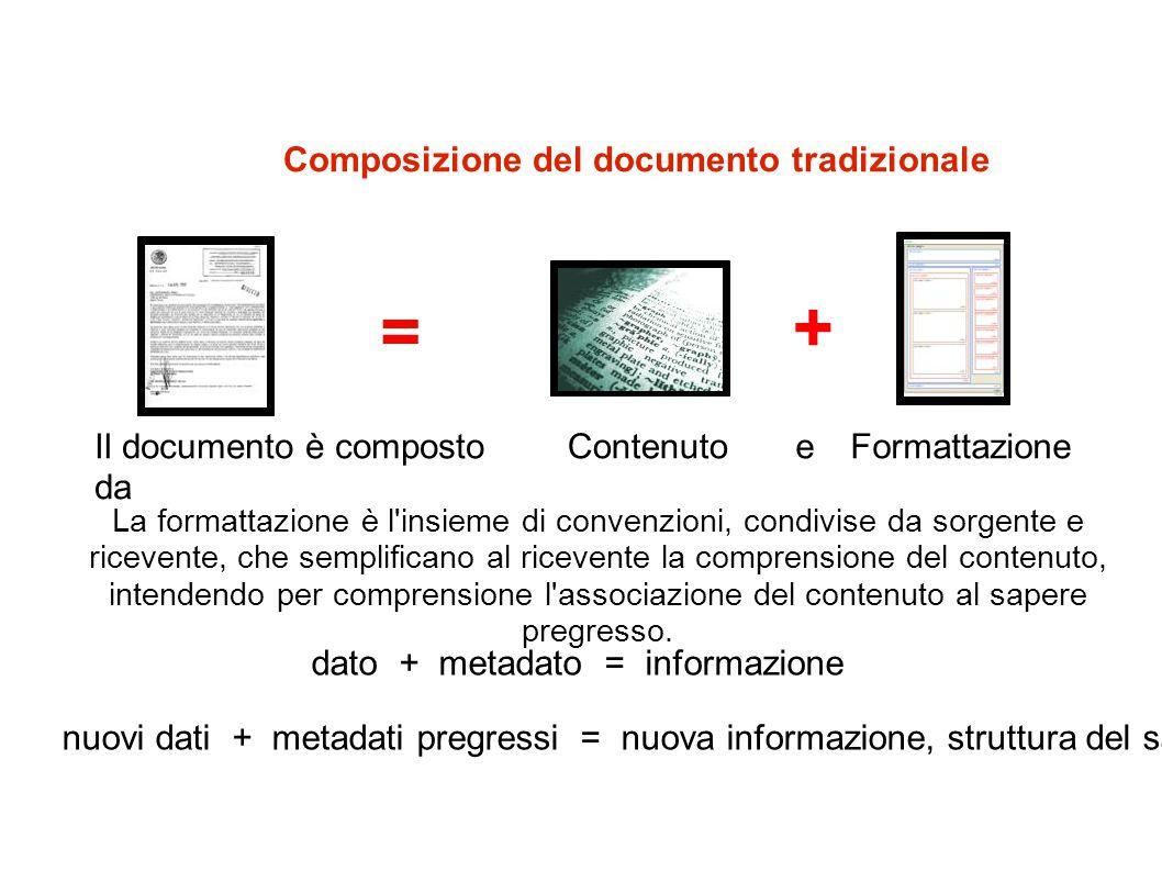 + = Composizione del documento tradizionale Il documento è composto da