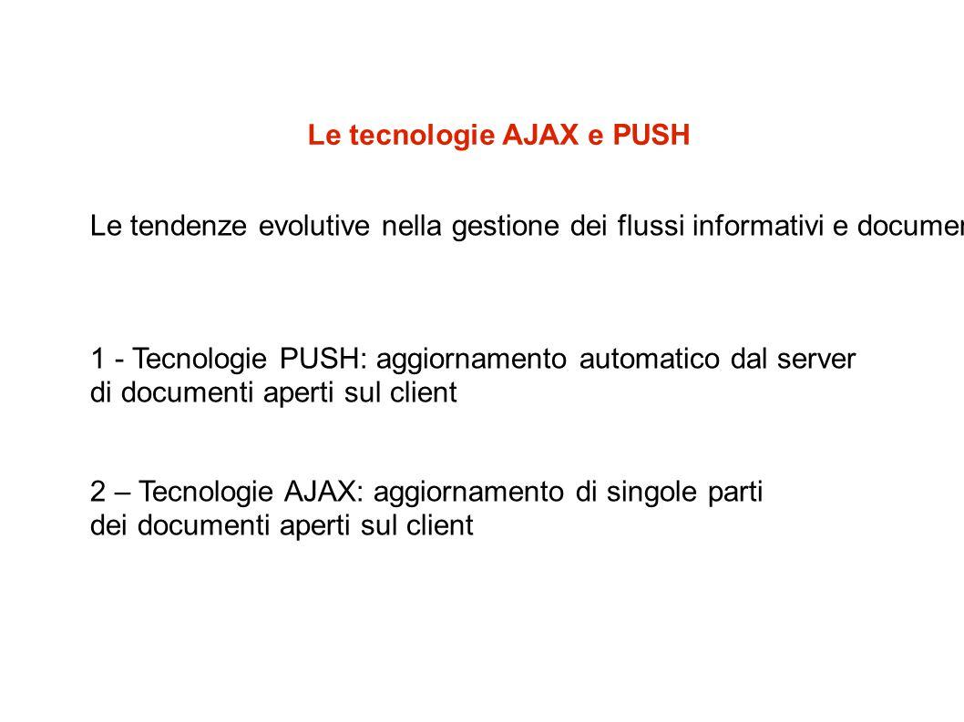 Le tecnologie AJAX e PUSH