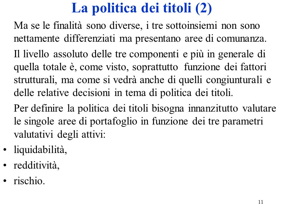 La politica dei titoli (2)