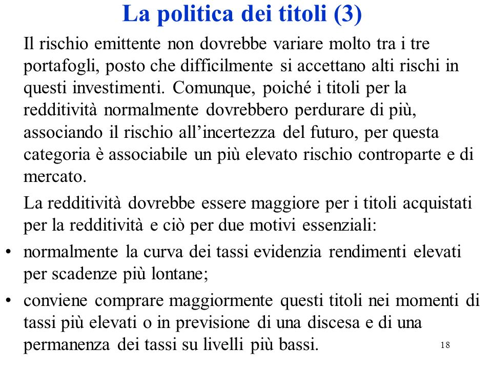 La politica dei titoli (3)