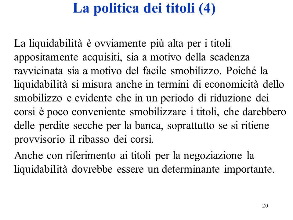 La politica dei titoli (4)