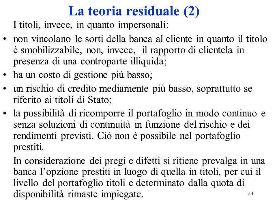 La teoria residuale (2) I titoli, invece, in quanto impersonali:
