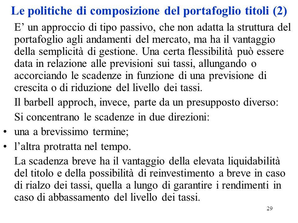 Le politiche di composizione del portafoglio titoli (2)