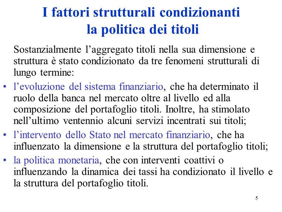 I fattori strutturali condizionanti la politica dei titoli