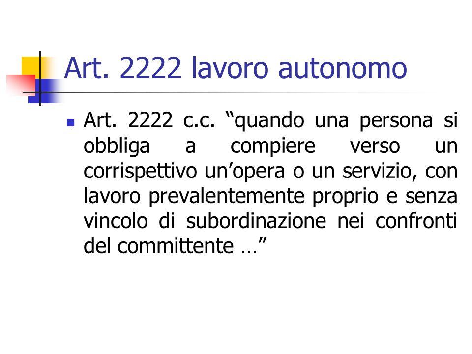 Art. 2222 lavoro autonomo