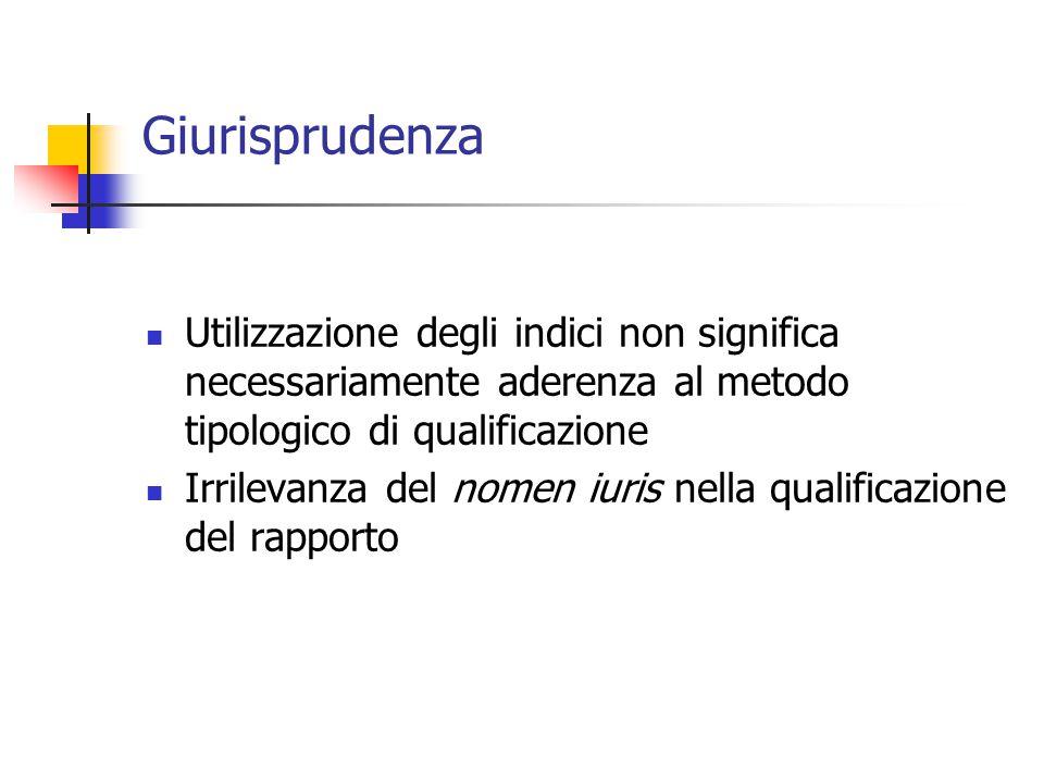 Giurisprudenza Utilizzazione degli indici non significa necessariamente aderenza al metodo tipologico di qualificazione.