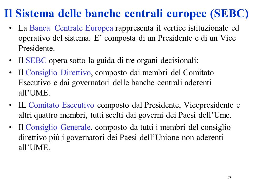 Il Sistema delle banche centrali europee (SEBC)