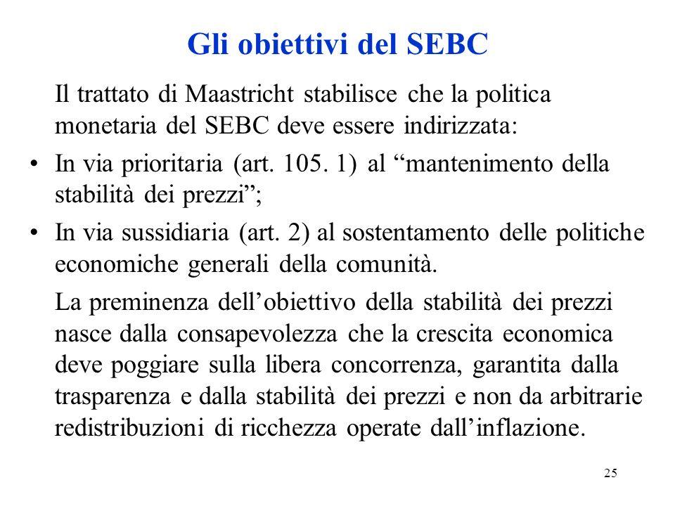 Gli obiettivi del SEBC Il trattato di Maastricht stabilisce che la politica monetaria del SEBC deve essere indirizzata: