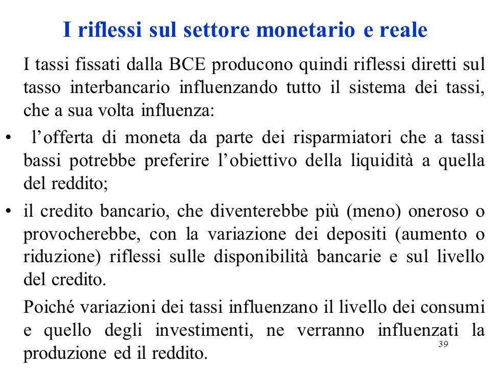 I riflessi sul settore monetario e reale