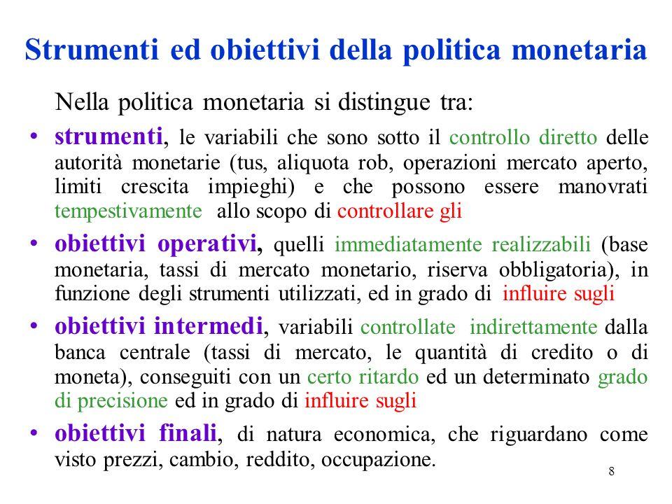 Strumenti ed obiettivi della politica monetaria