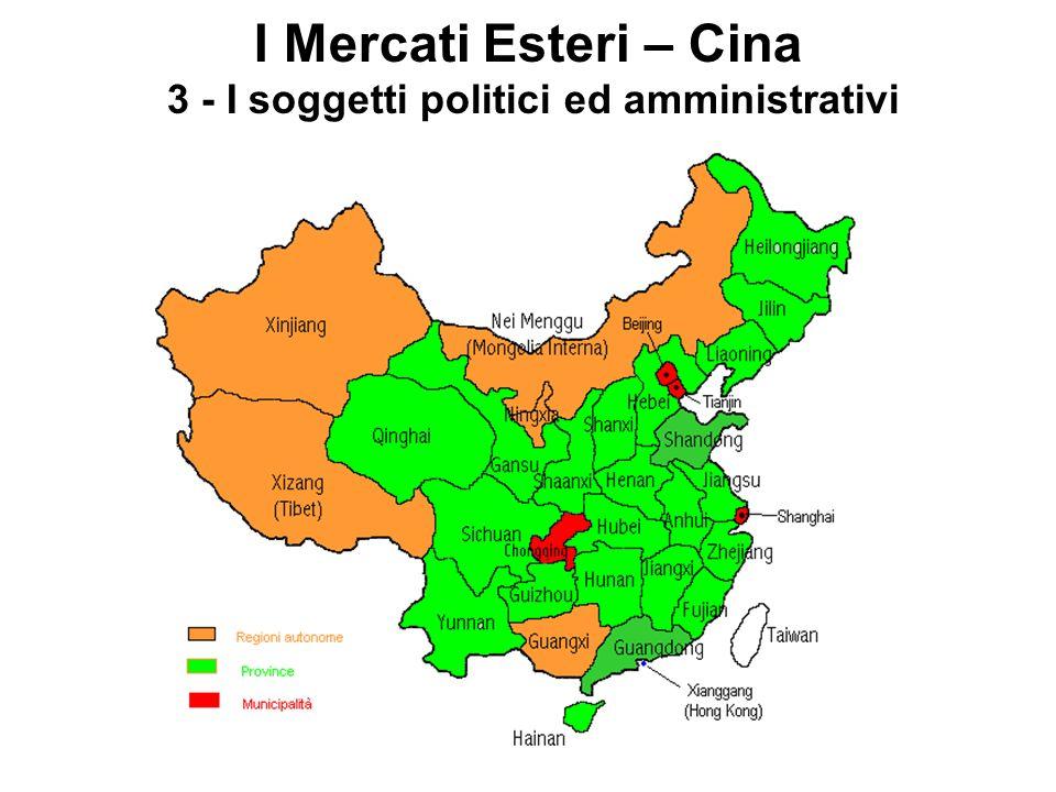 I Mercati Esteri – Cina 3 - I soggetti politici ed amministrativi
