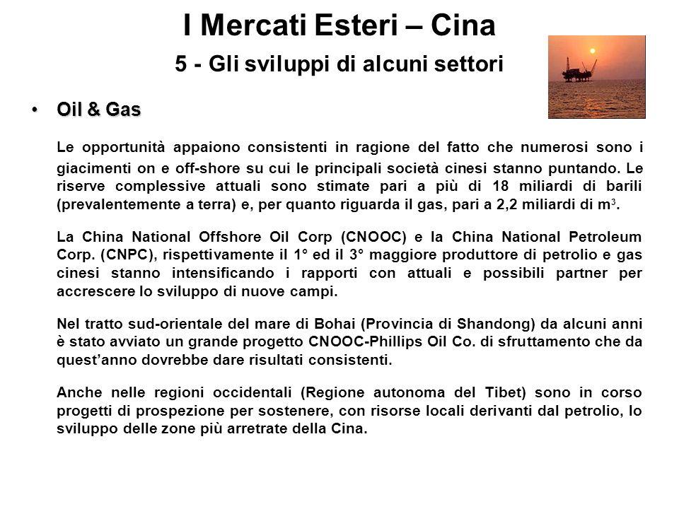 I Mercati Esteri – Cina 5 - Gli sviluppi di alcuni settori