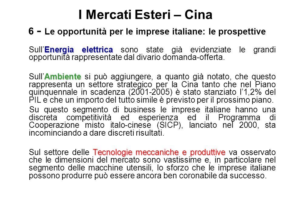 I Mercati Esteri – Cina 6 - Le opportunità per le imprese italiane: le prospettive