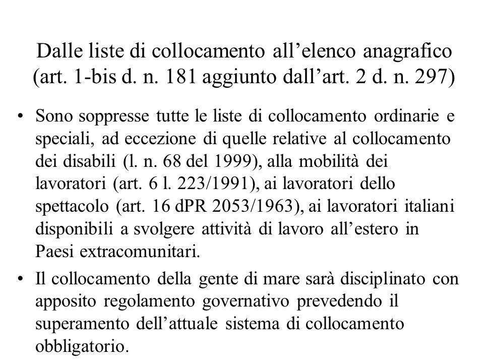 Dalle liste di collocamento all'elenco anagrafico (art. 1-bis d. n