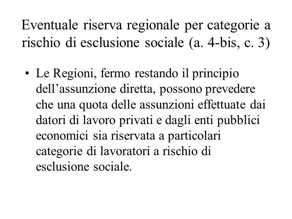 Eventuale riserva regionale per categorie a rischio di esclusione sociale (a. 4-bis, c. 3)