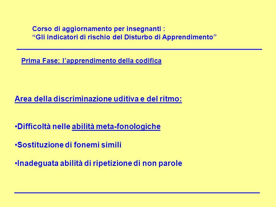 DISLESSIA Area della discriminazione uditiva e del ritmo: