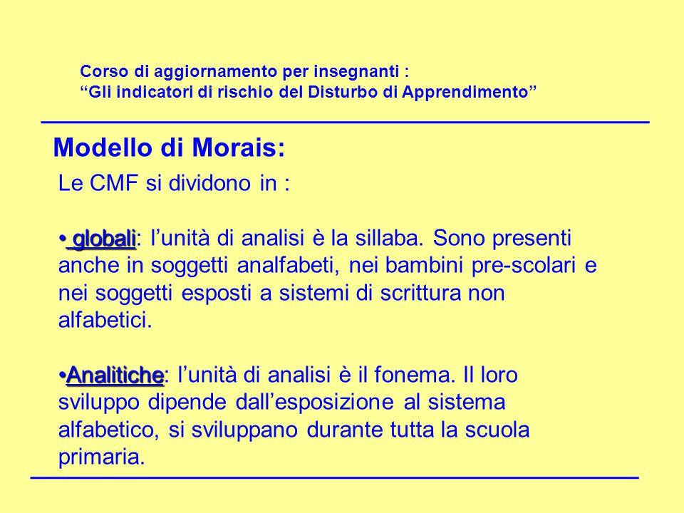 Modello di Morais: Le CMF si dividono in :
