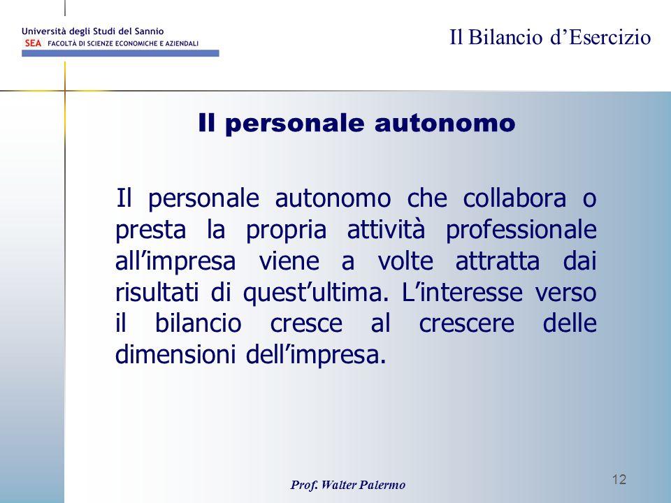Il personale autonomo