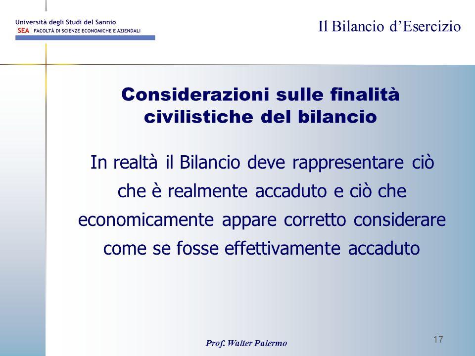 Considerazioni sulle finalità civilistiche del bilancio