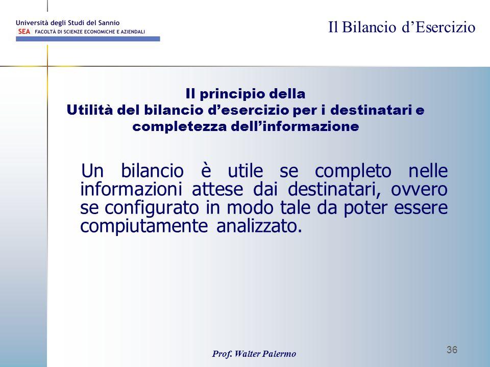 Il principio della Utilità del bilancio d'esercizio per i destinatari e completezza dell'informazione