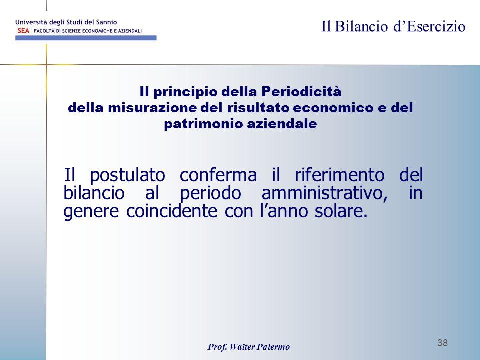 Il principio della Periodicità della misurazione del risultato economico e del patrimonio aziendale