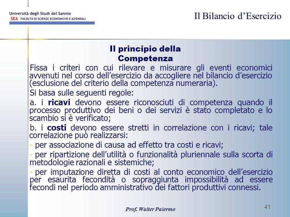Il principio della Competenza