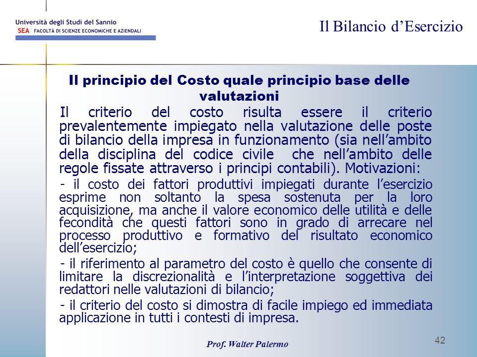 Il principio del Costo quale principio base delle valutazioni