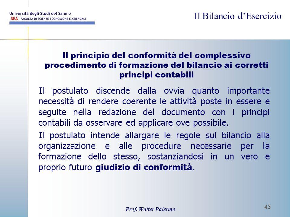Il principio del conformità del complessivo procedimento di formazione del bilancio ai corretti principi contabili