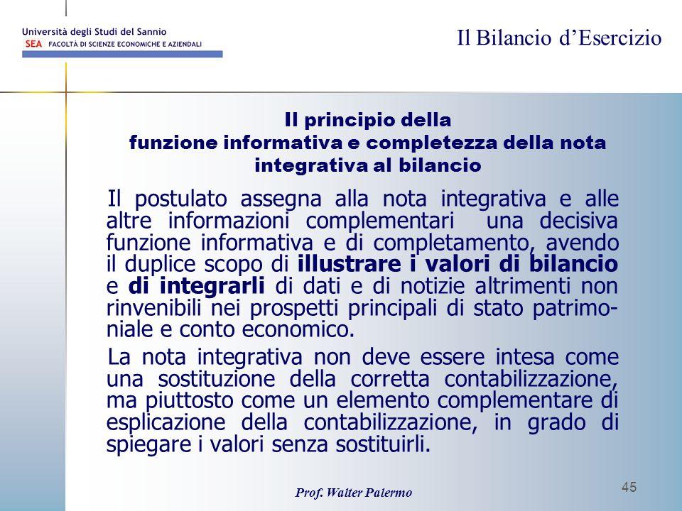 Il principio della funzione informativa e completezza della nota integrativa al bilancio