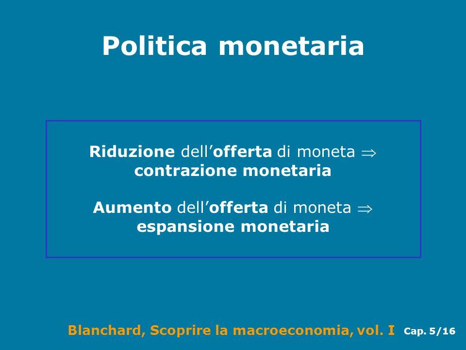 Politica monetaria Riduzione dell'offerta di moneta  contrazione monetaria.
